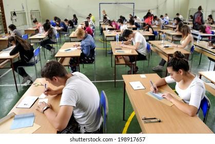 BELGRADE, SERBIA - CIRCA JUNE 2014: Adults take exam for high school, circa June 2014 in Belgrade.