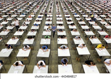 BELGRADE, SERBIA - CIRCA JUNE 2016: Students takes exam for university, circa June 2016 in Belgrade.