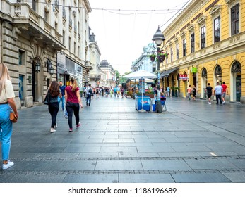 BELGRADE, SERBIA - CIRCA JUNE 2018: View on people as they walk on the pedestrian zone on a busy street in the downtown of the city circa June 2018 in Belgrade, Serbia.