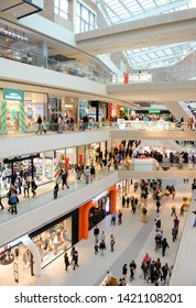 Belgrade, SERBIA - CIRCA MAY 2019: Interior view of new shopping center with various shopping facilities on four floors