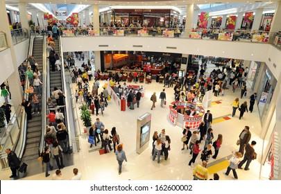 BELGRADE, SERBIA - CIRCA NOVEMBER 2008: People shops in Delta City shopping mall, circa November 2008 in Belgrade