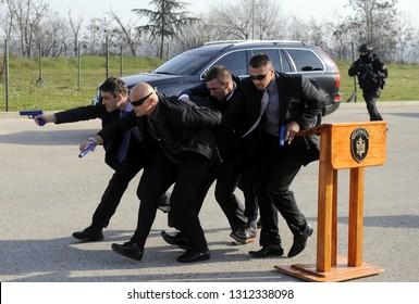 BELGRADE, SERBIA - CIRCA NOVEMBER 2015: Special anti terrorist unit of Serbian police demonstrate vip protection in situation of attack, November 2015 in Belgrade