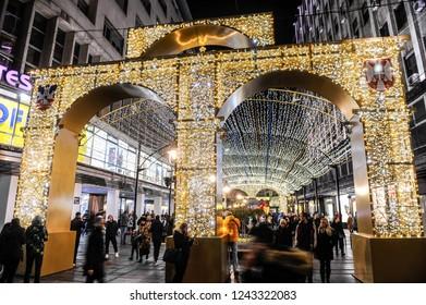 BELGRADE, SERBIA - CIRCA NOVEMBER 2018: Holiday decoration lighting on streets of Belgrade