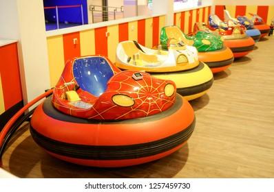 BELGRADE, SERBIA - CIRCA NOVEMBER 2018: Modern children bumper cars arena in small amusement park