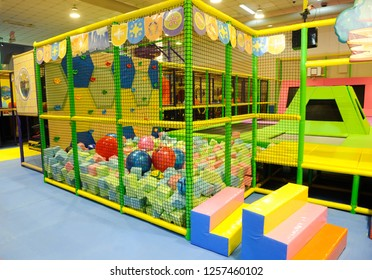 BELGRADE, SERBIA - CIRCA NOVEMBER 2018: Modern children playground indoor with lot of colorful toys and obstacles