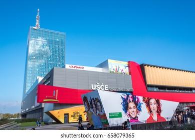 Belgrade, Serbia – CIRCA October 2015: Usce Tower and Usce Shopping Center in Belgrade