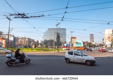 Belgrade, Serbia – CIRCA October 2015: Slavija square in Belgrade city center