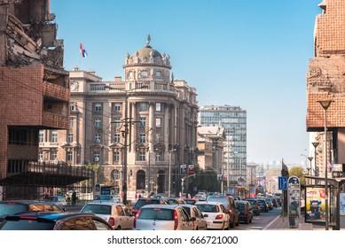 Belgrade, Serbia – CIRCA October 2015: Nemanjina street in downtown Belgrade
