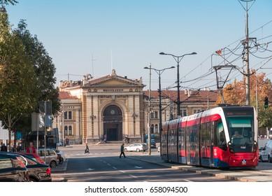 Belgrade, Serbia – CIRCA October 2015:Tram in front of Railway station in Belgrade