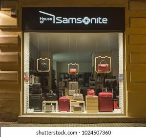 Belgrade, Serbia - December 07, 2017: Samsonite store shop at night