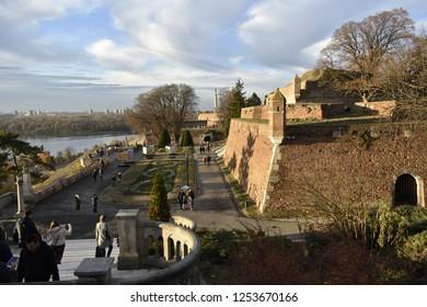 Belgrade / Serbia - December 09, 2018: Belgrade Fortress (Kalemegdan) in Serbian capital Belgrade
