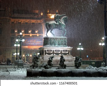 Belgrade Serbia. December 10, 2017. Snow blizzard on the Republic Square in Belgrade. In the background is the building of National Drama, Ballet and Opera Theater.