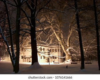 BELGRADE, SERBIA - DECEMBER 11, 2010. Topcider Park. One of the oldest,  biggest and most beautiful parks in Belgrade. Prince Milos' Residence, built  between 1831 and 1834. Night shot.
