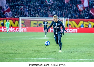Belgrade, Serbia - December 11, 2018; Neymar da Silva Santos Junior playing on a UEFA Champions League match Red Star vs Paris Saint Germain on December 11, 2018 in Belgrade