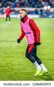 Belgrade, Serbia - December 11, 2018; Neymar da Silva Santos Junior warming up on a UEFA Champions League match Red Star vs Paris Saint Germain on December 11, 2018 in Belgrade