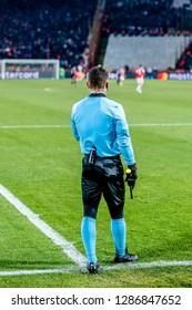 Belgrade, Serbia - December 11, 2018; Referee delivering justice on a UEFA Champions League match Red Star vs Paris Saint Germain on December 1