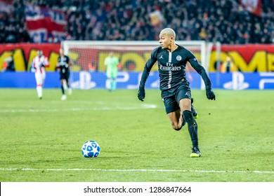 Belgrade, Serbia - December 11, 2018; Kylian Mbappe Lottin playing on a UEFA Champions League match Red Star vs Paris Saint Germain on December 11, 2018 in Belgrade
