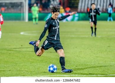 Belgrade, Serbia - December 11, 2018; Edinson Roberto Cavani Gomez playing on a UEFA Champions League match Red Star vs Paris Saint Germain on December 11, 2018 in Belgrade