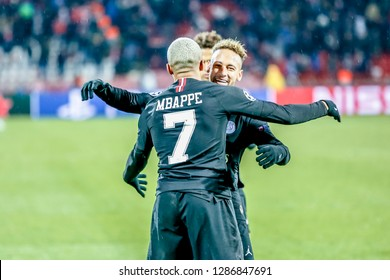Belgrade, Serbia - December 11, 2018; PSG players Mbappe and Neymar celebrating on a UEFA Champions League match Red Star vs Paris Saint Germain on December 11, 2018 in Belgrade