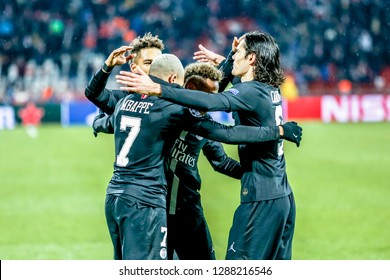 Belgrade, Serbia - December 11, 2018; PSG players Cavani, Mbappe and Neymar celebrating on a UEFA Champions League match Red Star vs Paris Saint Germain on December 11, 2018 in Belgrade