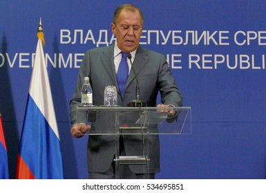 Belgrade, Serbia. December 12th 2016: Joint press conference of Russian and Serbian Foreign Ministers, Ivica Dacic and Sergey Lavrov during the official visit of Minister Lavrov to Serbia.