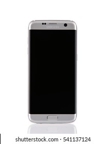 Belgrade, Serbia - December 19, 2016: New silver Samsung Galaxy S7 Edge smartphone, isolated on white background
