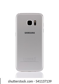 Belgrade, Serbia - December 19, 2016: New silver Samsung Galaxy S7 Edge smartphone, back side,isolated on white background