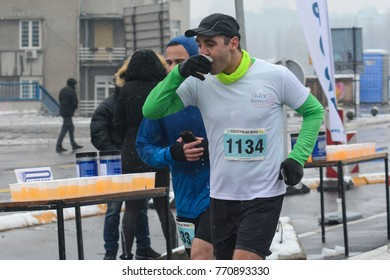 Belgrade, Serbia December 3, 2017: The first Belgrade half-marathon.