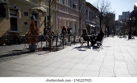 Belgrade, Serbia, Feb 22, 2020:  A view of the Master's Square (Magistarski Trg) in Zemun with outdoor café and guests
