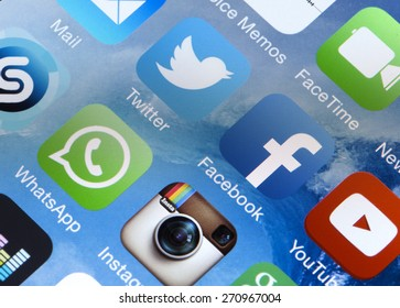 BELGRADE, SERBIA - FEBRUARY 08, 2015: Popular social media icons Twitter, Facebook, Whatsapp, Instagram, Youtube and other on smart phone screen close up