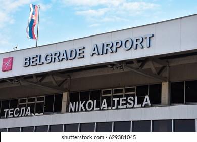 Belgrade, Serbia. February 10, 2017. Belgrade Nikola Tesla Airport (Aerodrom Nikola Tesla Beograd)