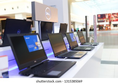 Belgrade, Serbia - February 15, 2019: New Dell laptop computers are shown on retail display in electronic store.