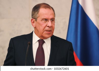 Belgrade, Serbia. February 21th 2018: Press conference of Russian and Serbian Foreign Ministers, Sergey Lavrov during the official visit of Minister Lavrov to Serbia.