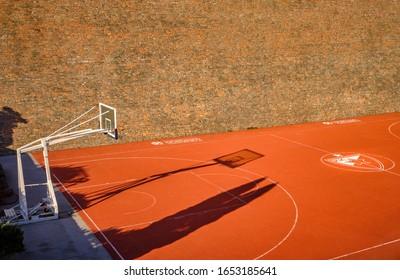 Belgrade / Serbia - February 22, 2020: BC Red Star Belgrade (Crvena Zvezda) basketball court in Belgrade fortress (Kalemegdan park)