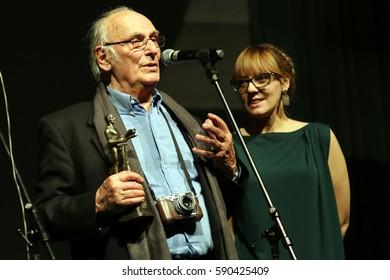 Belgrade, Serbia, February 24. 2017. Movie director Carlos Saura taking award on Belgrade movie festival FEST