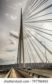 Belgrade, Serbia February 28, 2014: Construction of the bridge on Ada in Belgrade