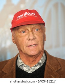 BELGRADE, SERBIA - FEBRUARY 2nd 2010: Former formula one driver Niki Lauda  on press conference at Belgrade airport, February 2nd 2010. in Belgrade