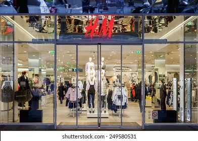 Belgrade, Serbia - February 3, 2015: HM fashion store in Knez Mihailova street in Belgrade, Serbia. H&M is a Swedish company.