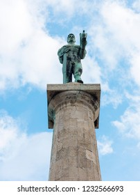 BELGRADE, SERBIA - FEBRUARY 4, 2017: Pobednik (The Victor) Monument in Kalemegdan Park. Pobednik is a monument in the Upper Town of the Belgrade Fortress. Belgrade, Serbia.