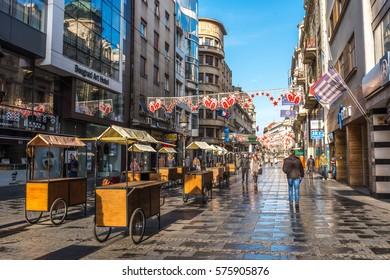BELGRADE, SERBIA - FEBRUARY 4, 2017: Knez Mihailova Street. The most famous street is the main shopping mile of Belgrade. Belgrade, Serbia.