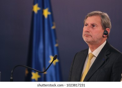 Belgrade, Serbia  - February 7. 2018: The visit of the EU Commissioner for European Neighbourhood Policy and the negotiations on the expansion of Johannes Hahn to Serbia