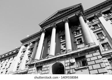 Belgrade, Serbia - governmental building exterior. Classical architecture.