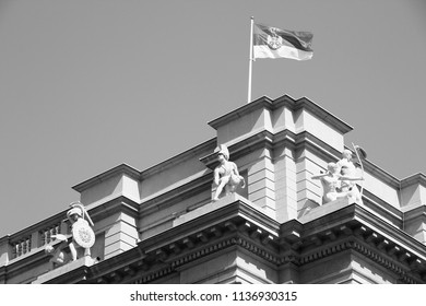 Belgrade, Serbia - governmental building with Serbian flag on the wind