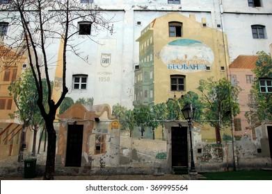 BELGRADE, SERBIA - JAN 12, 2012 -  Graffiti on Skadarlija. Skadarlija is a vintage street in Belgrade, Serbia. Houses painted with graffiti