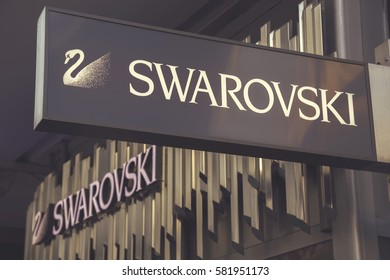 BELGRADE, SERBIA - JANUARY 01, 2017: Swarovski store sign.  Swarovski is an Austrian producer of cut lead glass, headquartered in Wattens, Austria. Vintage style.
