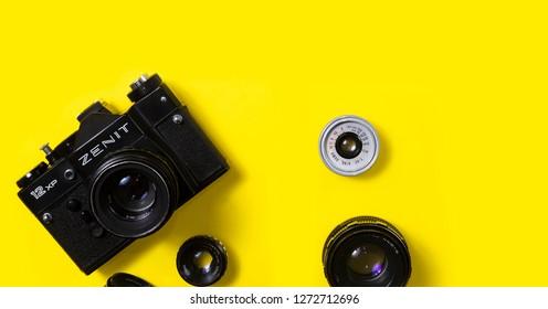 BELGRADE, SERBIA , JANUARY 02 2019 : Analog photography camera with lenses. Vintage 35mm film camera. Retro camera banner. Photography background