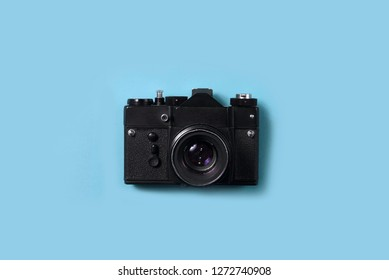 BELGRADE, SERBIA , JANUARY 02 2019 :  Top view of vintage 35mm film camera. Retro dslr film camera. Old camera from above. Analog photography background