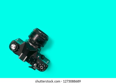 BELGRADE, SERBIA , JANUARY 02 2019: Top view of vintage 35mm film camera. Retro camera from above.