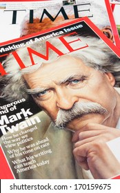 BELGRADE, SERBIA - JANUARY 07, 2014: Time magazines displayed with Mark Twain portrait on the cover page.