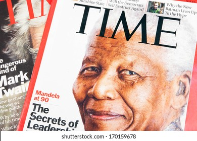BELGRADE, SERBIA - JANUARY 07, 2014: Time magazines displayed with the portrait of Nelson Mandela on the cover page.